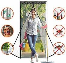 HCLKSTORE Magnet Fliegenitter Tür Insektenschutz Moskitonetz Tür 90 x 210 CM Magnetischer Fliegenvorhang Schwarz
