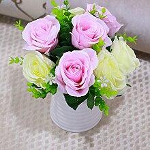 Hctina Künstliche Fake Blume Blumen Blumenstrauß aus Rosen rosa Pflanze vergossen