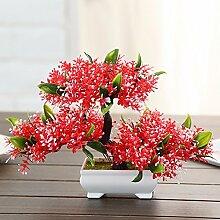 Hctina künstliche Fake Blume Bouquet Topfpflanzen Haus Dekoration, ro
