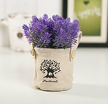 Hctina Künstliche Fake Blume Bügeleisen Blumentöpfe Lavendel Café lila Pflanze vergossen