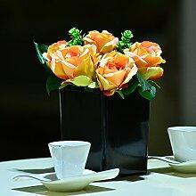 Hctina Künstliche Fake Blume Materialien Mode Orange Rose Pflanzen Topfpflanzen