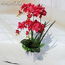 Hctina künstliche Fake Blume Pflanze Orchidee rot Holz- Vase