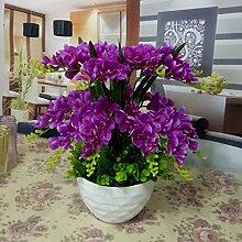 Hctina Künstliche Fake Blume Phalaenopsis Orchidee Bundle silk Blume Romantische stilvoller Esstisch lila Pflanze vergossen