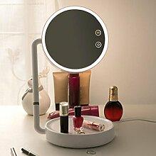 HD-Eitelkeits-Spiegellicht Prinzessinspiegel Geburtstags-Hochzeitsgeschenke Kreative Tischlampe Berührungsschalter , white