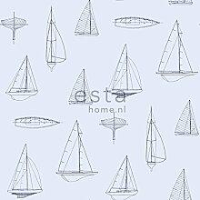 HD Vliestapete Boote Hellblau - 136431 - von ESTAhome.nl