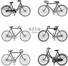 HD Vliestapete Fahrrad Weiß und Schwarz - 138523 - von ESTAhome.nl