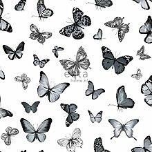 HD Vliestapete Schmetterlinge Schwarz und Weiß - 138512 - von ESTAhome.nl