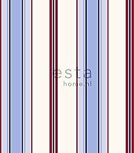 HD Vliestapete Streifen Hellblau und Rot - 136416 - von ESTAhome.nl