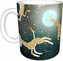 Hdadwy Giraffen im Weltraum Keramikbecher,
