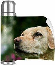 Hdadwy Labrador DogCup Edelstahl Leder Reisebecher