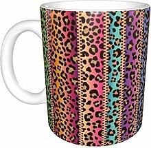 Hdadwy Moderne Serape und Leopard Keramikbecher,