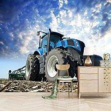 HDEOFR Fototapete 3D Effekt Blauer Traktor