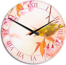 HDF-Wanduhren - Wanduhr Vogelgezwitscher in der Kirschblüte