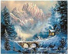 HDGREF Malen nach Zahlen DIY Snow Valley DIY Malen