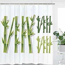 hdrjdrt Bambus Duschvorhang Grünpflanze