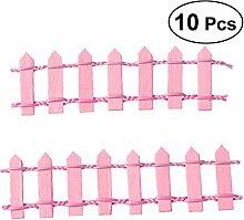 Healifty 10 Stück Miniatur Lattenzaun Holzzaun
