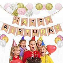 Heall Party Dekoration 22 Stück Luftballon silber Girlande Geburtstag Papier Hängendes Banner Laterne Girlanden Geburtstagshänger für Geburtstagsfeier Weihnachten Hochzeit Party