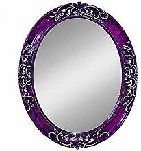 Health UK Mirror- Mediterrane Farbe Wandbehang Spiegel Grüne Grenze Dekorative Spiegel Lila Oval Geheimnisvolle Spiegel Badezimmer PU Spiegel Welcome ( Farbe : Lila , größe : S )