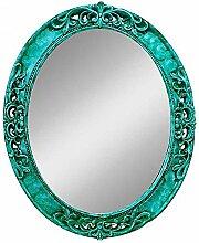 Health UK Mirror- Mittelmeer Farbe Wand Hängende Spiegel Grüner Rahmen Spiegel Lila Ovale Mysteriöse Spiegel Badezimmer PU Spiegel Welcome ( Farbe : Cyan , größe : L )