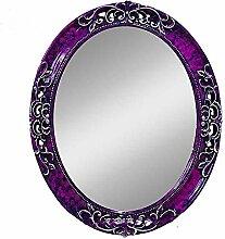 Health UK Mirror- Mittelmeer Farbe Wand Hängende Spiegel Grüner Rahmen Spiegel Lila Ovale Mysteriöse Spiegel Badezimmer PU Spiegel Welcome ( Farbe : Lila , größe : L )