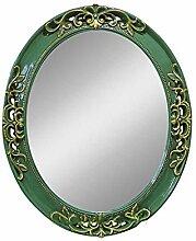 Health UK Mirror- Mittelmeer Farbe Wand Hängende Spiegel Grüner Rahmen Spiegel Lila Ovale Mysteriöse Spiegel Badezimmer PU Spiegel Welcome ( Farbe : Grün , größe : S )