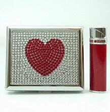HEART Zigarettenetui + Feuerzeug JET-Flamme