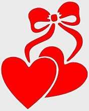 HEARTS WITH BOW (A5)Airbrush, Wall Art , Paint Stencil, Genuine Mylar Re-Useable 125 micron by cfsupplies