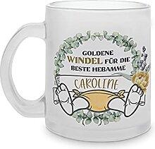 Hebamme Geschenk, Glas Tasse mit Namen