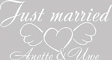 Heckscheiben Auto Aufkleber Autoaufkleber Tuning Just married Wunschnamen (010 weiss)