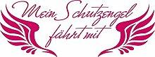 Heckscheiben Auto Aufkleber Autoaufkleber Tuning Spruch Schutzengel Flügel (70x26cm // 041G pink)