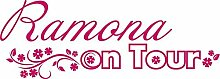 Heckscheiben Auto Aufkleber Autoaufkleber Tuning Sticker Wunschname on Tour (70x25cm // 041G pink)