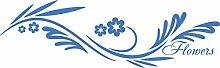 Heckscheiben Auto Aufkleber Autoaufkleber Tuning Tribal Flowers Blumen (70x24cm // 555G gletscherblau)