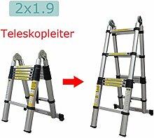 Hehilark Teleskopleiter,Aluminium Multifunktionsleiter höhenverstellbar beidseitige Steh und Treppenleiter-96cm bis 2,50m Anlegeleiter, 150 kg Belastbarkei