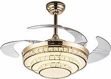 Heimlichkeit-Ventilator-Leuchter, Hauptwohnzimmer-Restaurant-Deckenventilator beleuchtet moderne geführte Kristallventilator-Lichter