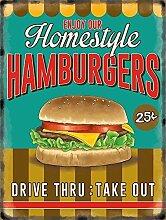 Heimstil Hausgemachte Hamburger. hausgemachte Cheeseburger. Retro, alt vintage werbetafel für küche, restaurant, verbindung, cafe oder kaffee laden Metall/Stahl Wandschild - 30 x 40 cm