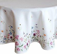 heimtexland Frühling OSTERN Tischdecke rund 170 cm Blumenwiese Digitaldruck weiß bunt Tischdekoration Serie Typ520