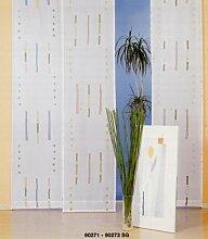 heimtexland Vorhang, Fertiggardine, 1 Schiebegardine aus bedrucktem Voile, Höhe 240 cm x Breite 55 cm, Farbe Blau.