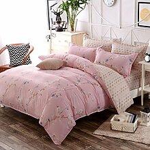 Heimtextilien, Baumwolle, niedlich, frisch, print4 Sätze von Bettwäsche (1 Bettwäsche + 1 Steppdecke + 2 Kissenbezüge) , #6 , 1.5m bed
