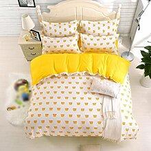 Heimtextilien, Baumwolle, niedlich, frisch, print4 Sätze von Bettwäsche (1 Bettwäsche + 1 Steppdecke + 2 Kissenbezüge) , #4 , 1.5m bed