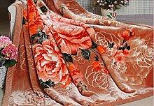 Heimtextilien Flanell Geschnitzte Decke Winter-Eindickung Doppel Blumen Abdeckung Decke Decke Decke ( farbe : # 2 )