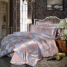 Heimtextilien Garnitur Europäische Jacquard-Baumwoll-Satin 4 Sets von Bettwäsche (1 Bettwäsche + 1 Steppdecke + 2 Kissenbezüge) , D , 2.0m bed