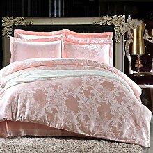 Heimtextilien Garnitur Europäische Jacquard-Baumwoll-Satin 4 Sets von Bettwäsche (1 Bettwäsche + 1 Steppdecke + 2 Kissenbezüge) , L , 2.0m bed