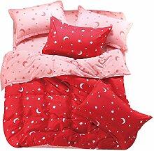 Heimtextilien Rosa Bettwaeschesatz 3/4 Stueck Bettlaken / Bettbezug / Kissenbezug