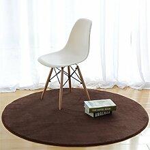 Heimtextilien Runde Teppiche Full Shop Moderne minimalistische Couchtisch Sofa Korb Große Teppich Schlafzimmer Decke ( farbe : Braun , größe : 140*140cm-#1 )
