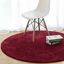 Heimtextilien Runde Teppiche Full Shop Moderne minimalistische Couchtisch Sofa Korb Große Teppich Schlafzimmer Decke ( farbe : Rot , größe : 120*120cm-# 2 )