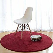 Heimtextilien Runde Teppiche Full Shop Moderne minimalistische Couchtisch Sofa Korb Große Teppich Schlafzimmer Decke ( farbe : Rot , größe : 120*120cm-#1 )