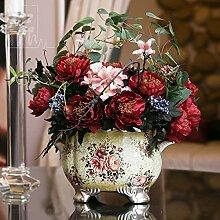 Heimtextilien Schmuck im Europäischen Stil der Alten Blume, Pfingstrose Blumen Blumen Dekoration Dekoration Wohnungseinrichtung, 45 * 48 * 46 cm, Oxblood Red