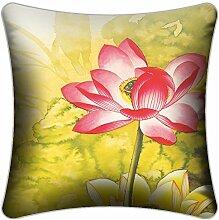 Heimtextilien Textildruck Satin-Kissen-Kissen-Sofa-Kissen Büro Kissen ( farbe : A , größe : L )