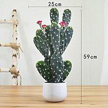 Heimtextilien Zubehör Plant Simulation von kleinen Topfpflanzen Wohnzimmer Fensterbank Blumen bonsai Pflanzen Dekoration Dekoration, Rot Cactus