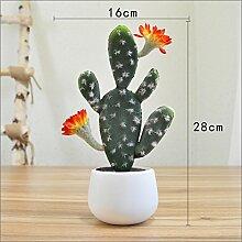Heimtextilien Zubehör Plant Simulation von kleinen Topfpflanzen Wohnzimmer Fensterbank Blumen bonsai Pflanzen Dekoration Dekoration, Kaktus mit vier Ohren und orange Blumen